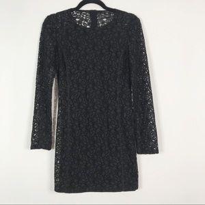 Aritzia Talula Lace Long Sleeve Dress Black Size 4